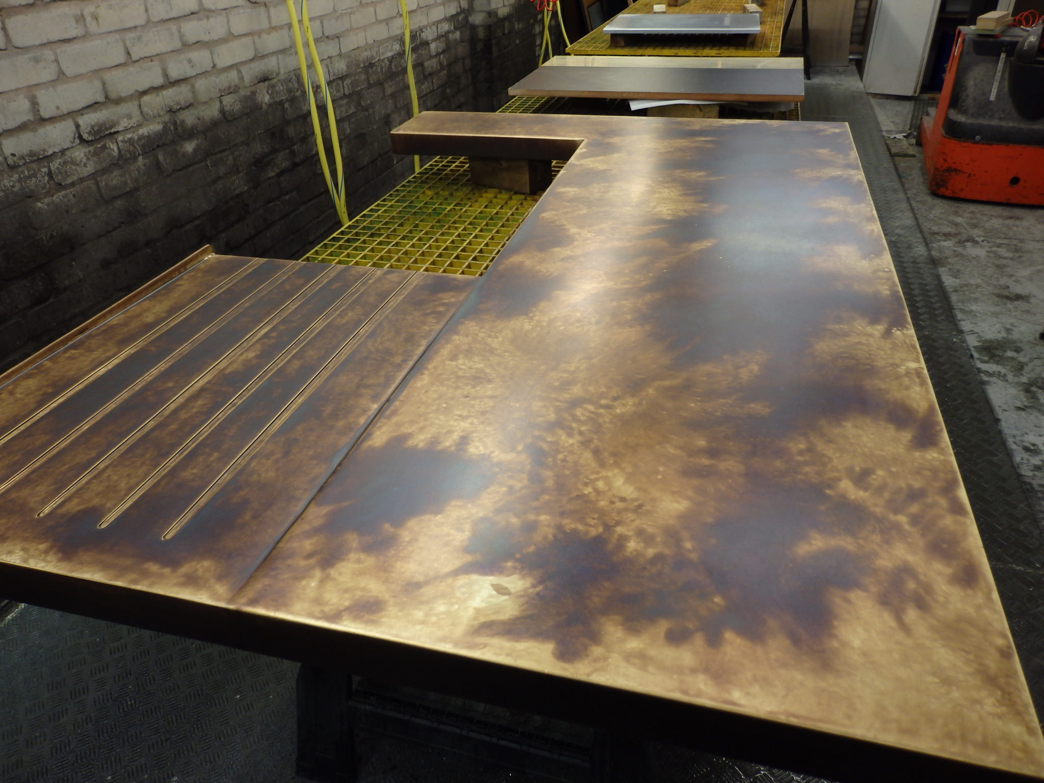 Solid Bronzed Brass Kitchen Worktop With Milled Drainer